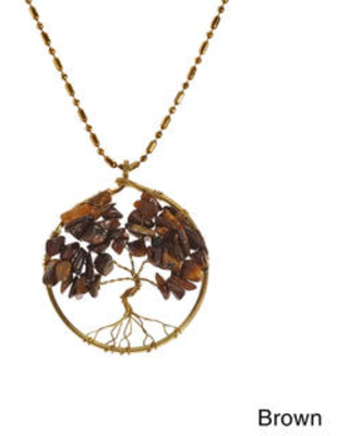 Handmade Tree of Life Brass Necklace (Thailand) (Brown)