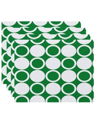 Simply Daisy, 18 x 14 inch, Small Modcircles, Geometric Print Placemat (Set of 4), Green