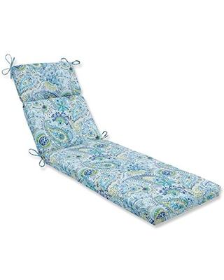 """Pillow Perfect Outdoor/Indoor Gilford Baltic Chaise Lounge Cushion, 72.5"""" x 21"""", Blue"""