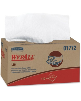 Wypall L10 Disposable Towels (01772), Dairy Towels, 1-PLY, Pop-Up Box, White, 18 Boxes per Case, 110 Wipes per Box, 1,980 Sheets per Case