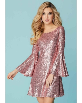 Tiffany Homecoming - 27153 Long Bell Sleeve Sequined A-Line Dress