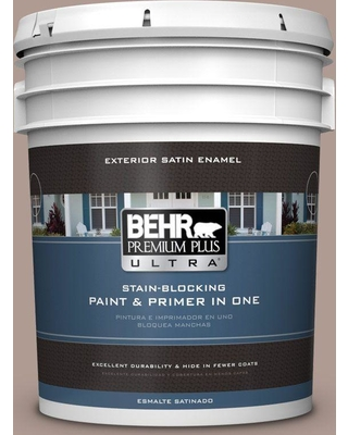 BEHR Premium Plus Ultra 5 gal. #N170-4 Coffee with Cream Satin Enamel Exterior Paint and Primer in One