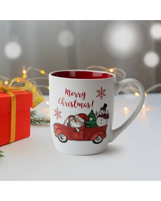 16oz Ceramic Snowman in Car Mug and Puzzle Gift Set - Peppermint & Pine