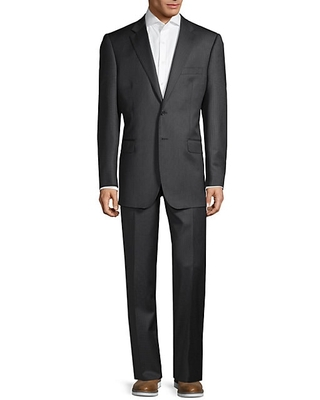 Saks Fifth Avenue Made in Italy Men's Tailored-Fit Striped Wool Suit - Charcoal - Size 40 R
