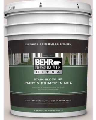 BEHR ULTRA 5 gal. #N130-1 Pearls and Lace Semi-Gloss Enamel Exterior Paint and Primer in One