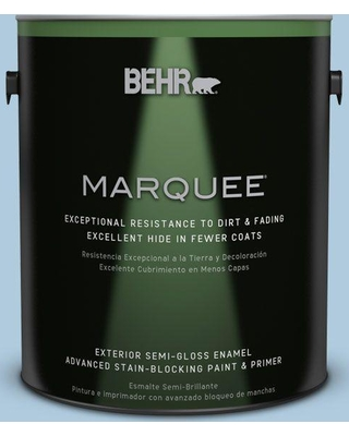 BEHR MARQUEE 1 gal. #S500-2 Essex Blue Semi-Gloss Enamel Exterior Paint and Primer in One