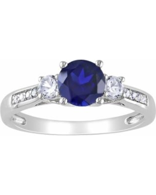 Stella Grace 10k White Gold Lab-Created Blue and White Sapphire and Diamond Accent 3-Stone Ring, Women's, Size: 5