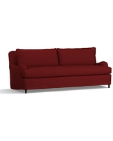 """Carlisle Slipcovered Grand Sofa 90.5"""" with Bench Cushion, Down Blend Wrapped Cushions, Twill Sierra Red"""