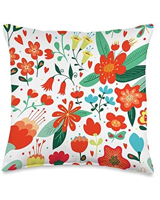 Floral Decorative and Throw Pillows Colorful Floral/Flower Pattern Throw Pillow, 16x16, Multicolor