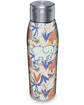 Tervis Ivory Ella Triple Walled Insulated Tumbler, 17oz Water Bottle - Stainless Steel, Tropical Leaves