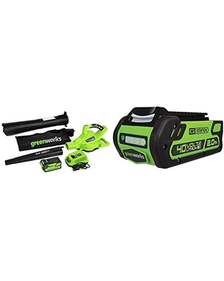 Greenworks 40V 185 MPH Variable Speed Cordless Leaf Blower/Vacuum, 4.0Ah Battery and Charger Included 24322 & 40V 2.0 AH Lithium Ion Battery 29462