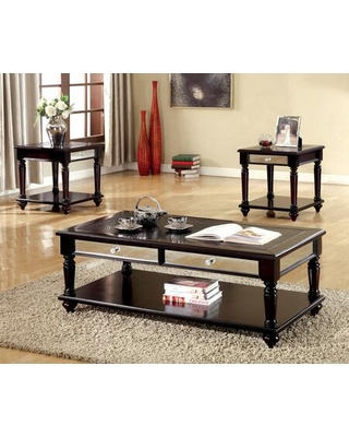 Horace CM4242-3PK Coffee Table and 2 End Tables with Mirror Panel Drawers Crocodile Leatherette Top and Wood Veneer Construction in Espresso