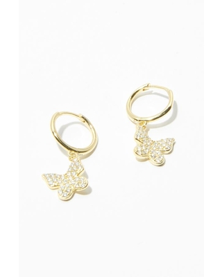 Adina's Jewels Gold Pave Butterfly Huggie Earrings