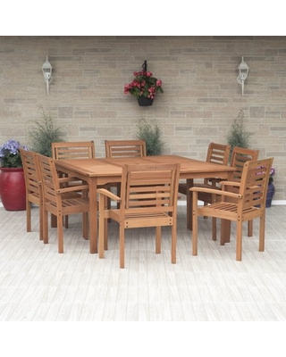 Amazonia Milano 9-Piece Square Patio Dining Set   Eucalyptus Wood   Ideal for Outdoors and Indoors, Seating Capacity: 8