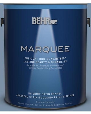 BEHR MARQUEE 1 gal. #S510-4 Jean Jacket Blue One-Coat Hide Satin Enamel Interior Paint and Primer in One