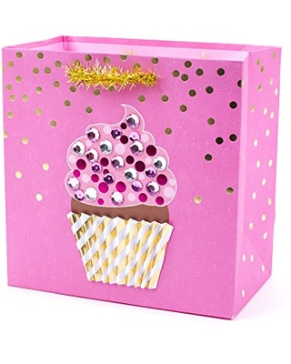 """Hallmark Signature 7"""" Medium Gift Bag (Pink Cupcake with Gems and Sequins) for Birthdays, Retirements, Baby Showers or Any Occasion"""
