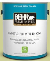 Great Sales On Behr Premium Plus 5 Gal M340 4 Wasabi Semi Gloss Enamel Low Odor Interior Paint And Primer In One