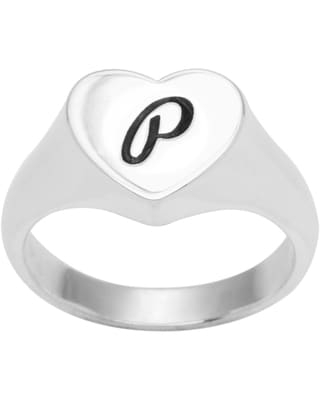 Sterling Silver Heart A-Z Script Signet Ring (Initial P - size 8)