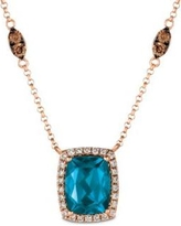 Le Vian Strawberry Gold Strawberry & Nude Deep Sea Blue Topaz and Nude Diamonds Necklace in 14k Strawberry Gold
