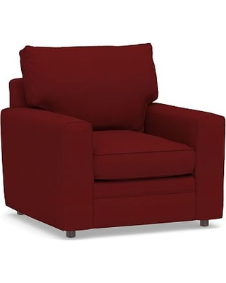 Pearce Square Arm Upholstered Armchair, Down Blend Wrapped Cushions, Twill Sierra Red