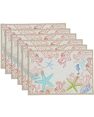 DII Seashore Collection Tabletop, Reversible Placemat Set, 13x19, Lagoon 6 Piece