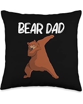 Cool Brown Wildlife Bear Hunters Mountain Clothes Funny Gift for Dad Father Men Bear Mammal Animal Throw Pillow, 16x16, Multicolor