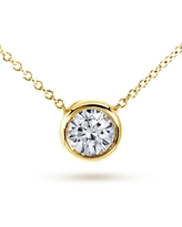 Annello by Kobelli 14k Yellow Gold 1ct Round Moissanite (HI) Solitaire Bezel Necklace (Yellow - Yellow - 16 Inch)
