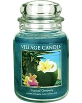 Village Candle Tropical Getaway 26 oz Glass Jar Scented Candle, Large