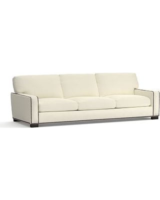 "Turner Square Arm Upholstered Grand Sofa 102"" with Bronze Nailheads, Down Blend Wrapped Cushions, Premium Performance Basketweave Ivory"
