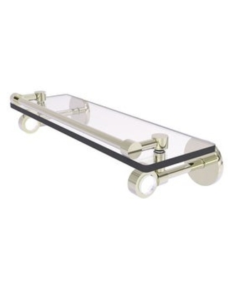 Allied Brass Clearview Collection Glass Shelf with Gallery Rail (Polished Nickel - 16 Inch)