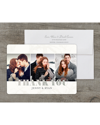 Personalized Wedding Thank You Card - Classic Marble - 5 x 7 Flat Deluxe