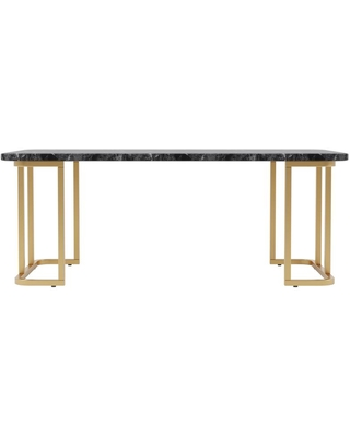 Furniture of America Pasadina 47.25 in. Gold Coating and Black Rectangular Faux Marble Top Coffee Table