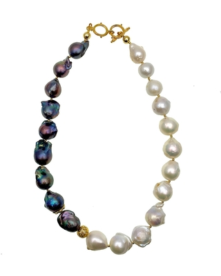 Farra - Purple & White Baroque Freshwater Pearls Necklace