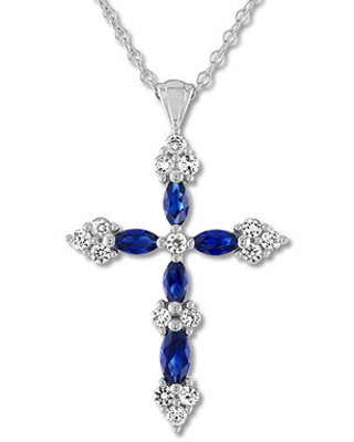 173004d6f Don't Miss This Deal on Blue & White Lab-Created Sapphire Cross ...