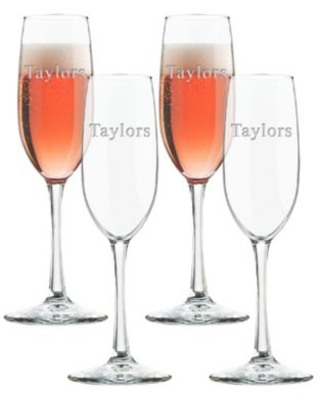 Carved Solutions Glass Champagne Flutes (Set Of 4) Clear
