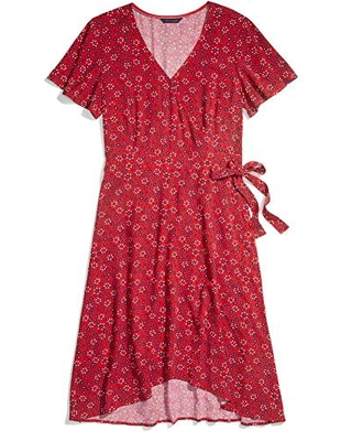 Tommy Hilfiger Women's Adaptive Wrap Dress with Velcro Brand Closure at Waist, Tango RED-PT/Multi, S