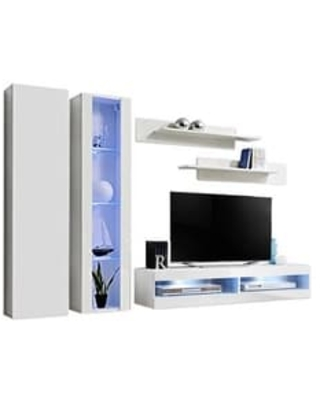 Fly A4 34TV Wall Mounted Floating Modern Entertainment Center (White)