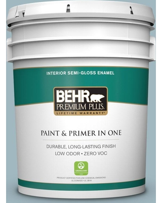 BEHR Premium Plus 5 gal. #bic-23 Hopeful Blue Semi-Gloss Enamel Low Odor Interior Paint and Primer in One
