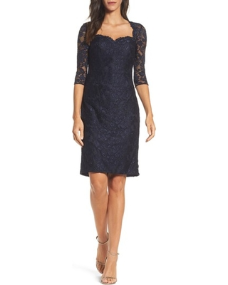 La Femme Lace Cocktail Dress, Size 6 in Navy at Nordstrom