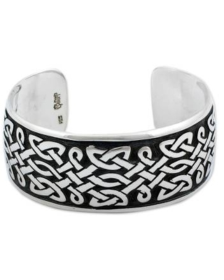 Artisan Crafted Sterling Silver Cuff Bracelet with Celtic Style Design