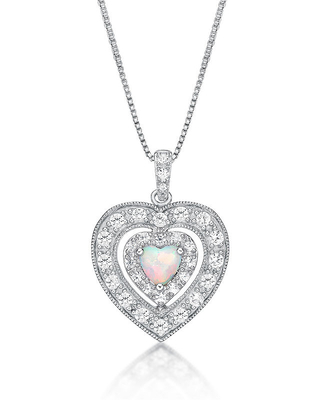 Womens Lab-Created Opal & Lab-Created White Sapphire Sterling Silver Pendant Necklace, One Size , No Color Family