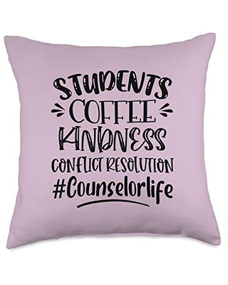 Students Coffee Kindness Proud School Design Students Coffee Kindness Proud School Counselor Life Throw Pillow, 18x18, Multicolor
