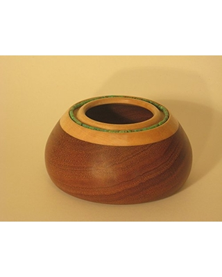 Mahogany bowl with turquoise beads set in maple collar