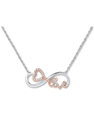 Jared The Galleria Of Jewelry Infinity Heart Diamond Necklace Sterling Silver/10K Gold