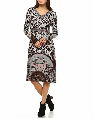 White Mark Naarah Embroidered Long Sleeve Sweater Dress, Large , Brown