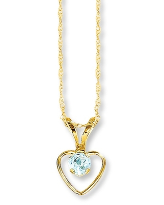 Jared The Galleria Of Jewelry Aquamarine Heart Necklace 14K Yellow Gold