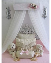 Princess Bed Crown Canopy Crib Baby Nursery Decor Shabby Chic Princess Girl's Bedroom FREE White curtains Vintage inspired Chalk paint SO ZOEY BOUTIQUE SALE
