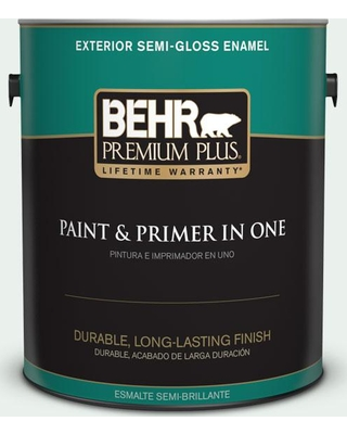 BEHR PREMIUM PLUS 1 gal. #PPL-36 Cool Reflection Semi-Gloss Enamel Exterior Paint and Primer in One