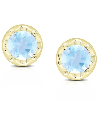 Dolce Giavonna Gold over Silver Gemstone Round Stud Earrings (December - Blue - Topaz)