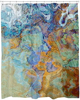 Abstract Art Shower Curtain Blue Green Orange And Brown